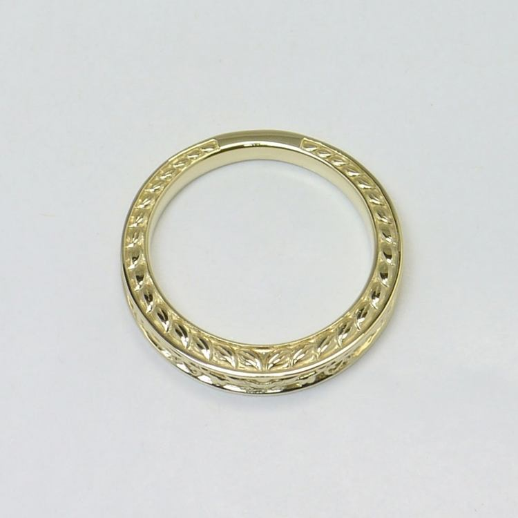 Antique Floral Wedding Ring angle 2