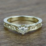 Antique Half Carat Heart Solitaire Diamond Engagement Ring - small