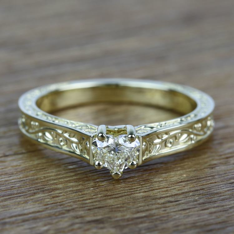 Antique Half Carat Heart Solitaire Diamond Engagement Ring