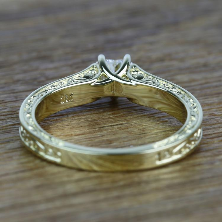 Antique Half Carat Heart Solitaire Diamond Engagement Ring angle 4