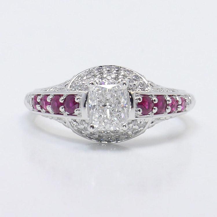 Antique Halo Radiant Cut Diamond & Ruby Engagement Ring