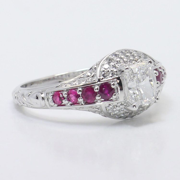Antique Halo Radiant Cut Diamond & Ruby Engagement Ring angle 3