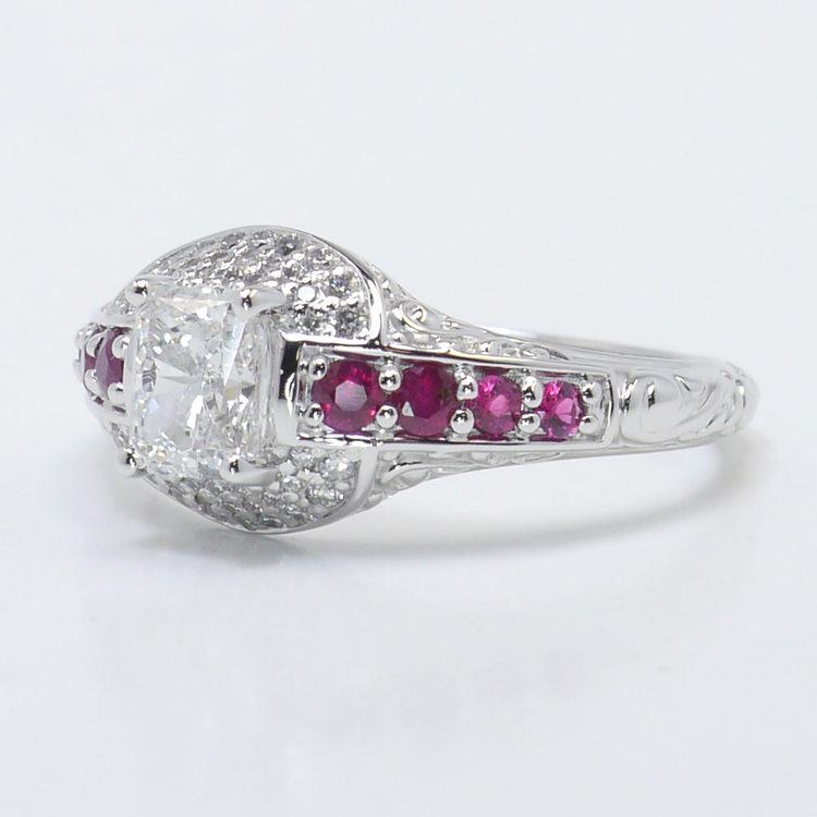 Antique Halo Radiant Cut Diamond & Ruby Engagement Ring angle 2
