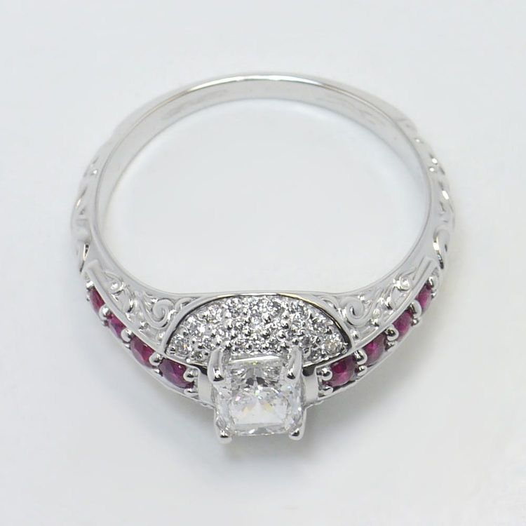 Antique Halo Radiant Cut Diamond & Ruby Engagement Ring angle 4