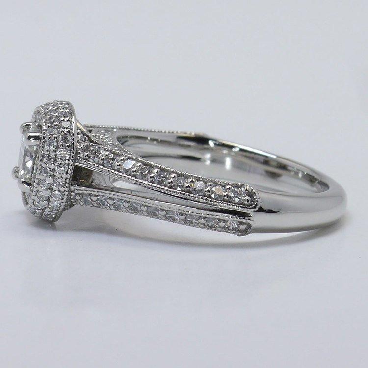 Vintage Split Shank 0.60 Carat Cushion Halo Diamond Engagement Ring angle 2