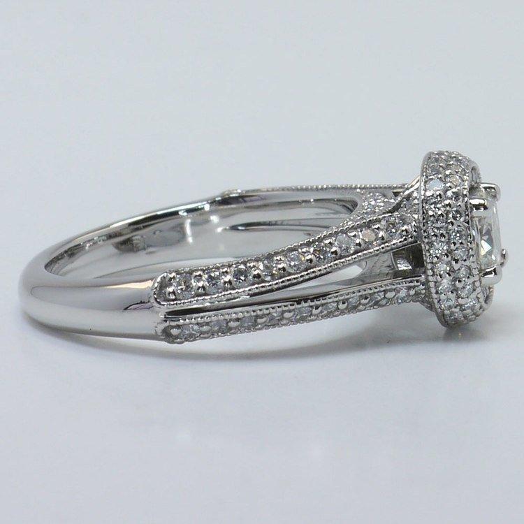 Vintage Split Shank 0.60 Carat Cushion Halo Diamond Engagement Ring angle 3