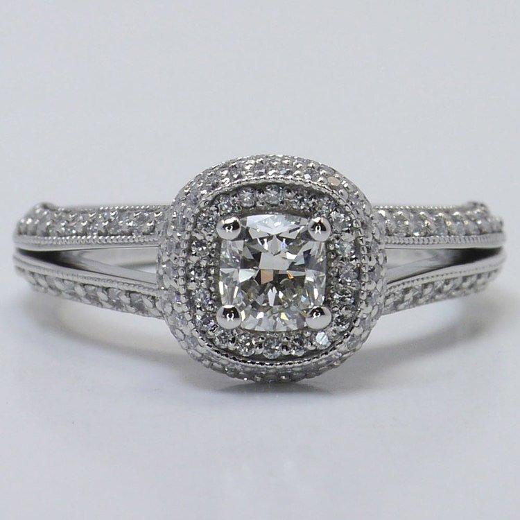 Vintage Split Shank 0.60 Carat Cushion Halo Diamond Engagement Ring