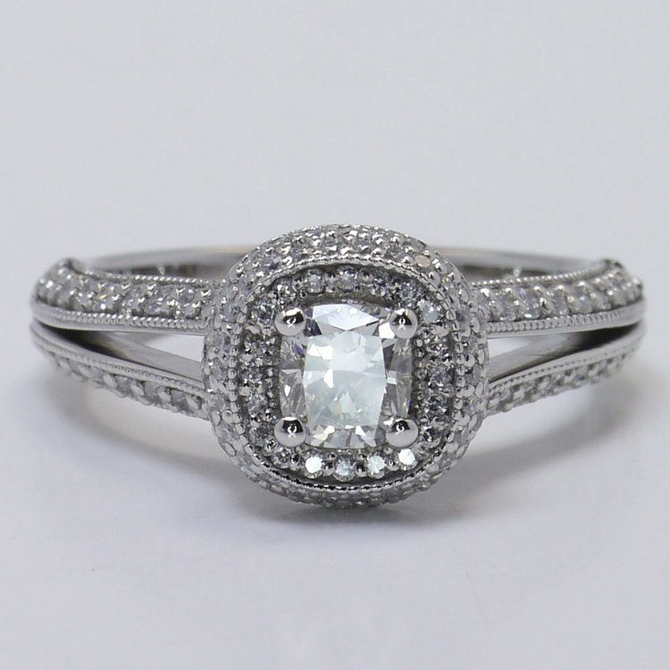 Vintage Split Shank 0.60 Carat Cushion Halo Diamond Engagement Ring angle 4