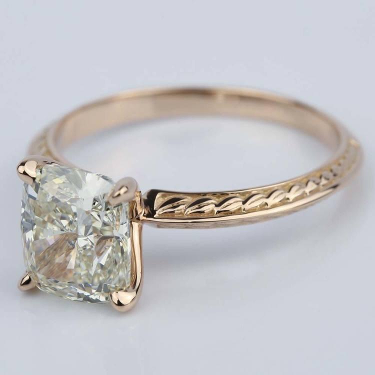 Antique Knife-Edge Cushion Diamond Engagement Ring (3 Carat) angle 2