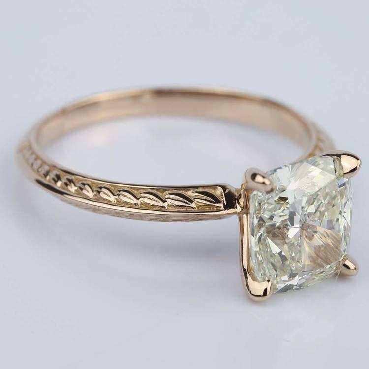Antique Knife-Edge Cushion Diamond Engagement Ring (3 Carat) angle 3