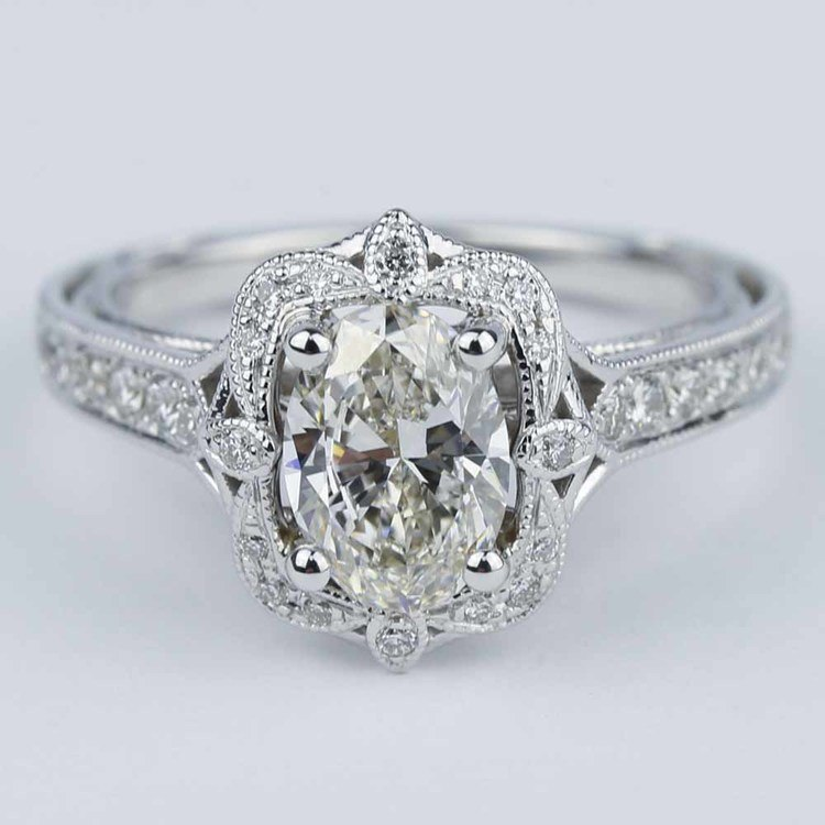 Antique Halo Designer Engagement Ring With Oval Diamond Read Notes