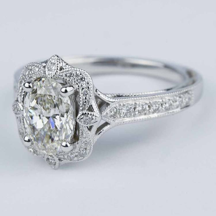 Antique Halo Designer Engagement Ring with Oval Diamond angle 2