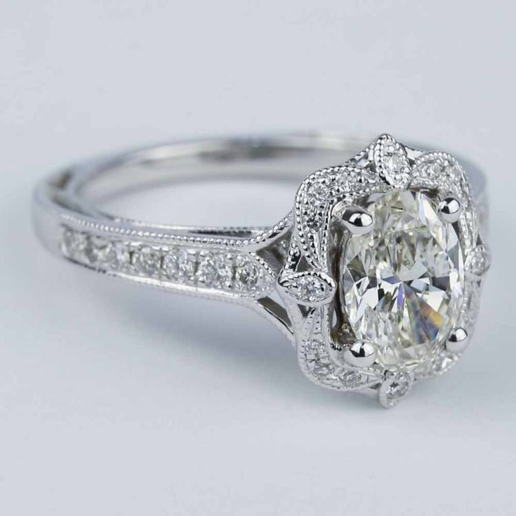 Antique Halo Designer Engagement Ring with Oval Diamond angle 3