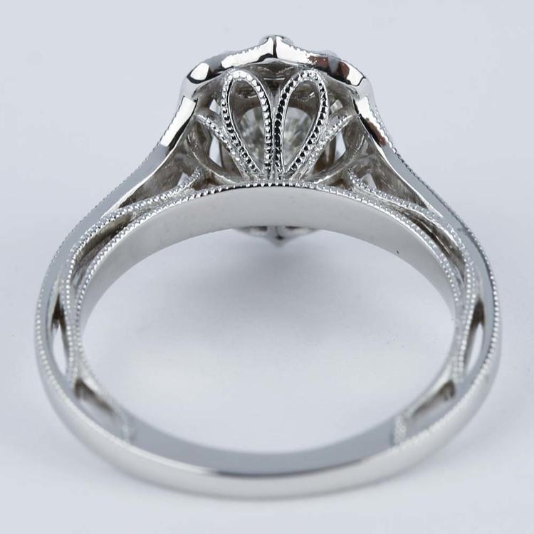 Antique Halo Designer Engagement Ring with Oval Diamond angle 4