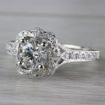 Antique Lyria Bloom Halo White Gold Engagement Ring  - small angle 2