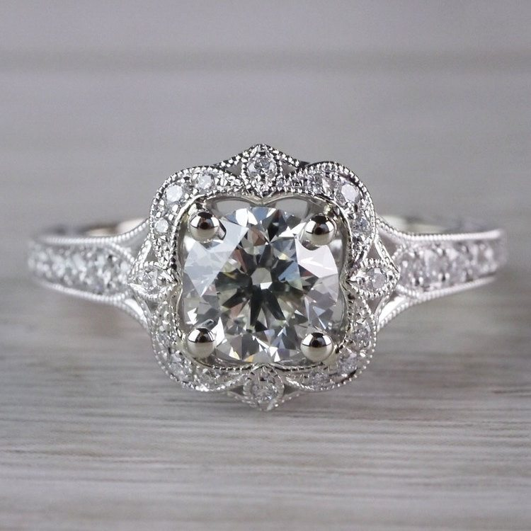 Antique Lyria Bloom Halo White Gold Engagement Ring