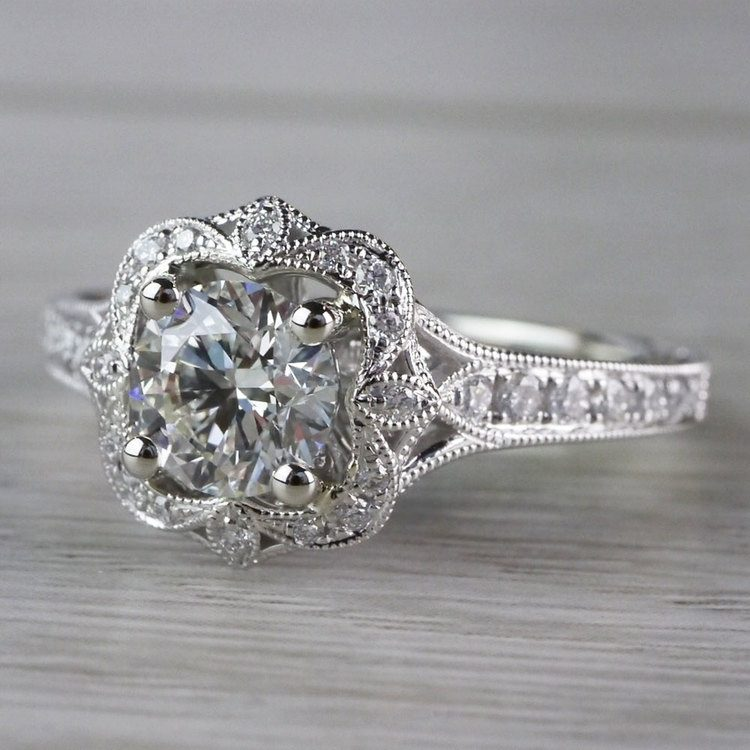 Antique Lyria Bloom Halo White Gold Engagement Ring  angle 2