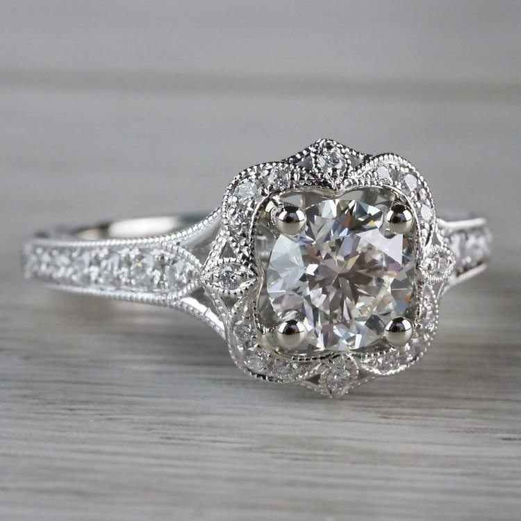 Antique Lyria Bloom Halo White Gold Engagement Ring  angle 3