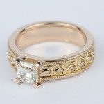 Antique Milgrain Solitaire Engagement Ring in Rose Gold - small angle 2