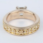 Antique Milgrain Solitaire Engagement Ring in Rose Gold - small angle 4