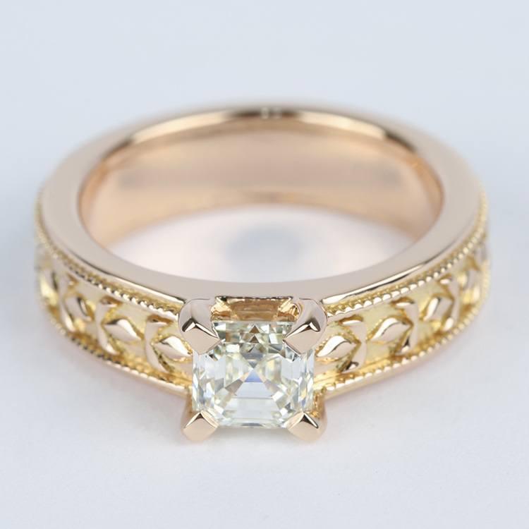 Antique Milgrain Solitaire Engagement Ring in Rose Gold