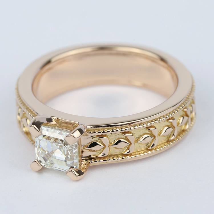 Antique Milgrain Solitaire Engagement Ring in Rose Gold angle 2