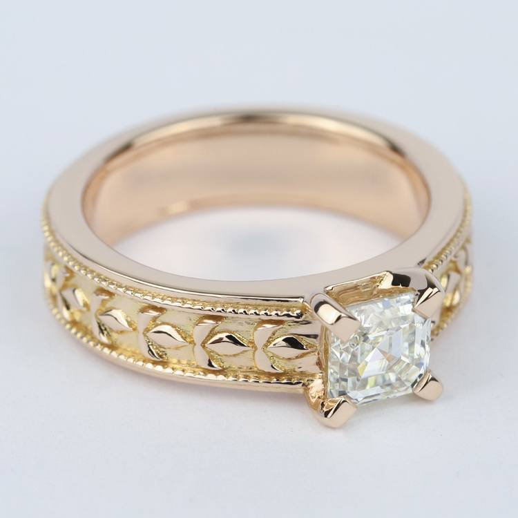 Antique Milgrain Solitaire Engagement Ring in Rose Gold angle 3