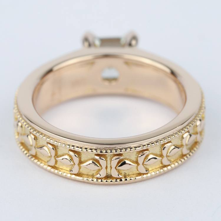 Antique Milgrain Solitaire Engagement Ring in Rose Gold angle 4