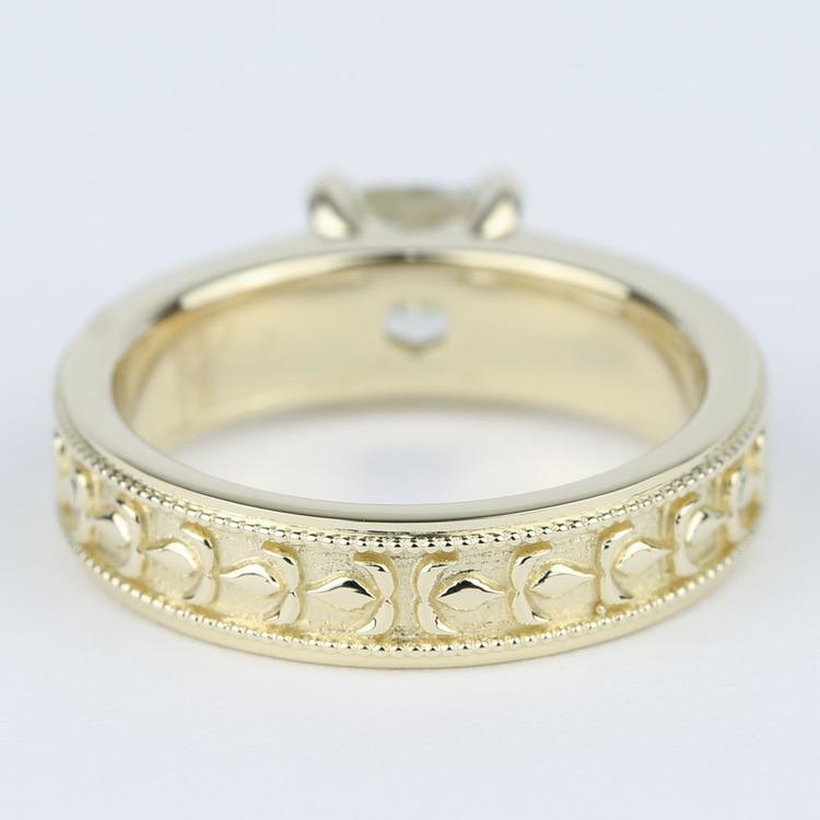 Antique Cushion Diamond Engagement Ring with Milgrain Detail angle 4