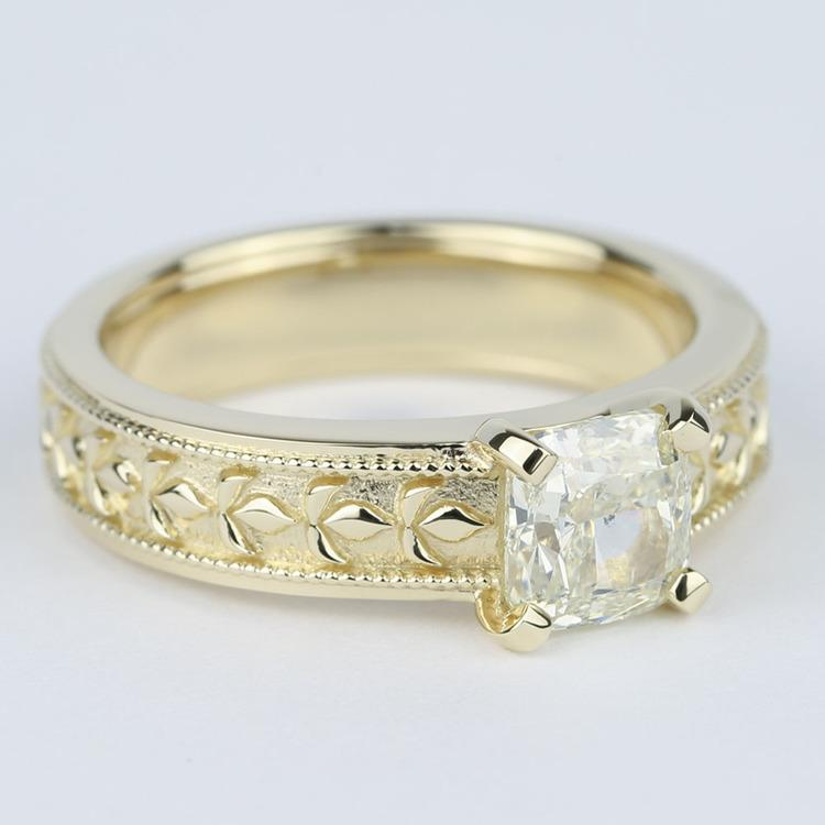 Antique Cushion Diamond Engagement Ring with Milgrain Detail angle 3