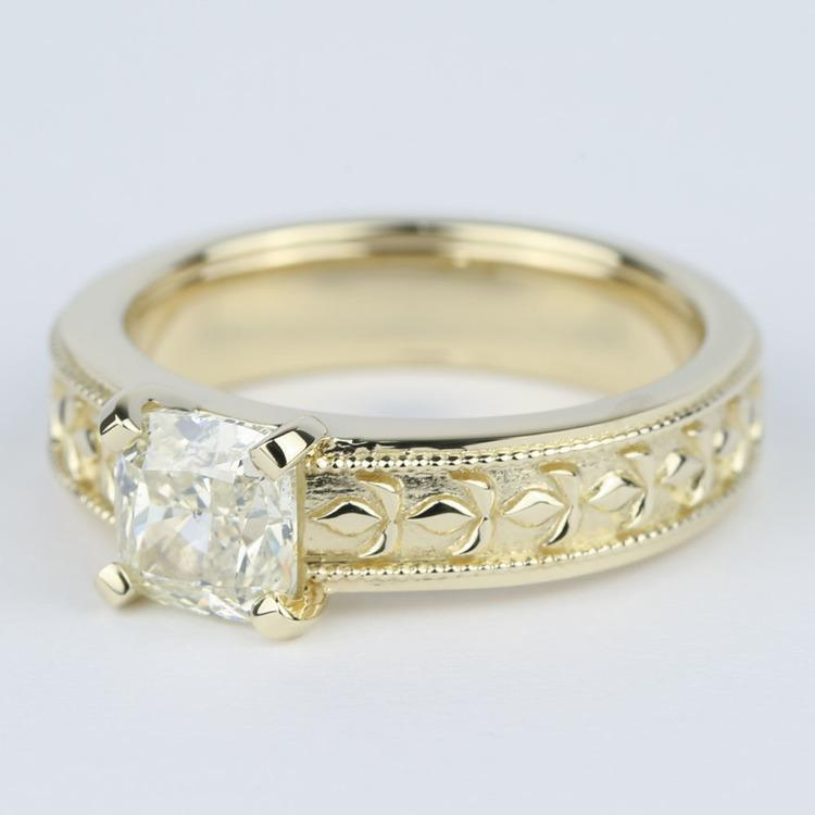 Antique Cushion Diamond Engagement Ring with Milgrain Detail angle 2