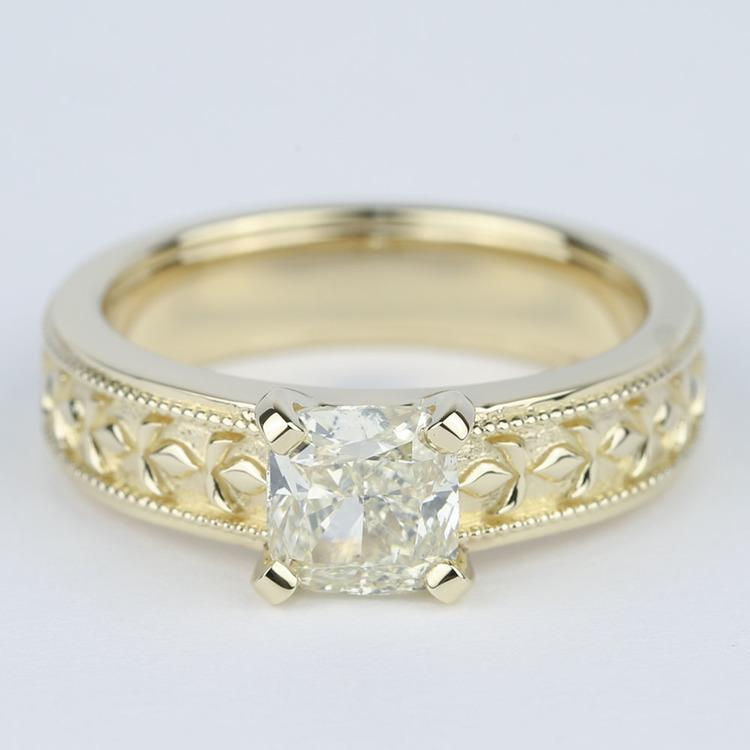 Antique Cushion Diamond Engagement Ring with Milgrain Detail