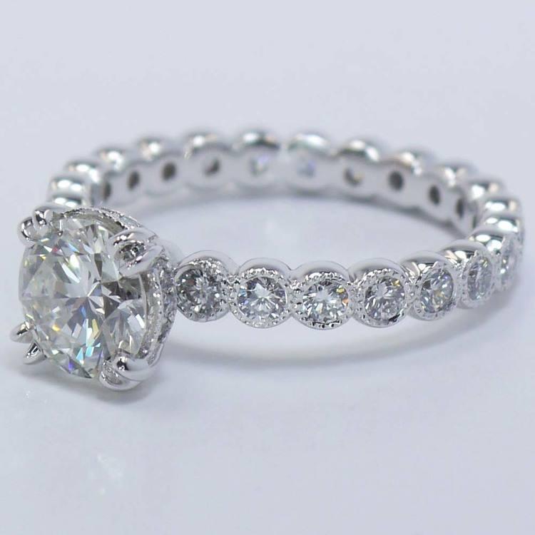 Round Diamond Antique Milgrain Bezel Ring (1 Carat) angle 3