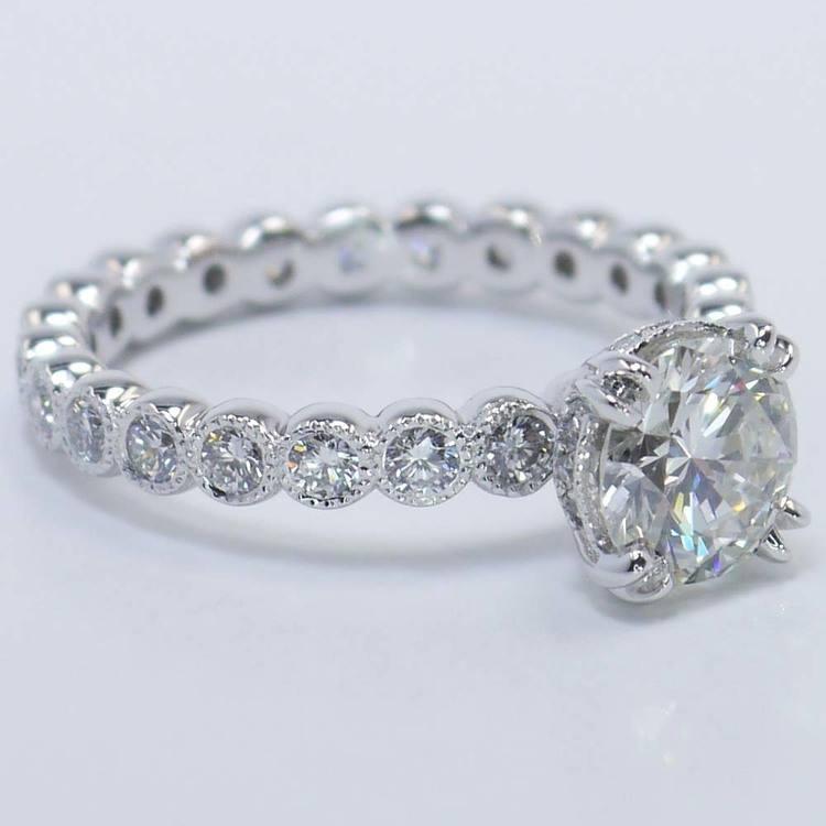 Round Diamond Antique Milgrain Bezel Ring (1 Carat) angle 4