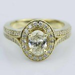 Antique Oval Diamond Engagement Ring in Yellow Gold - small