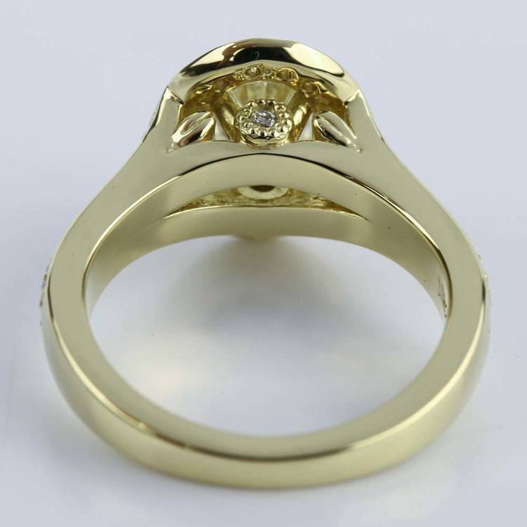 Antique Oval Diamond Engagement Ring in Yellow Gold angle 4