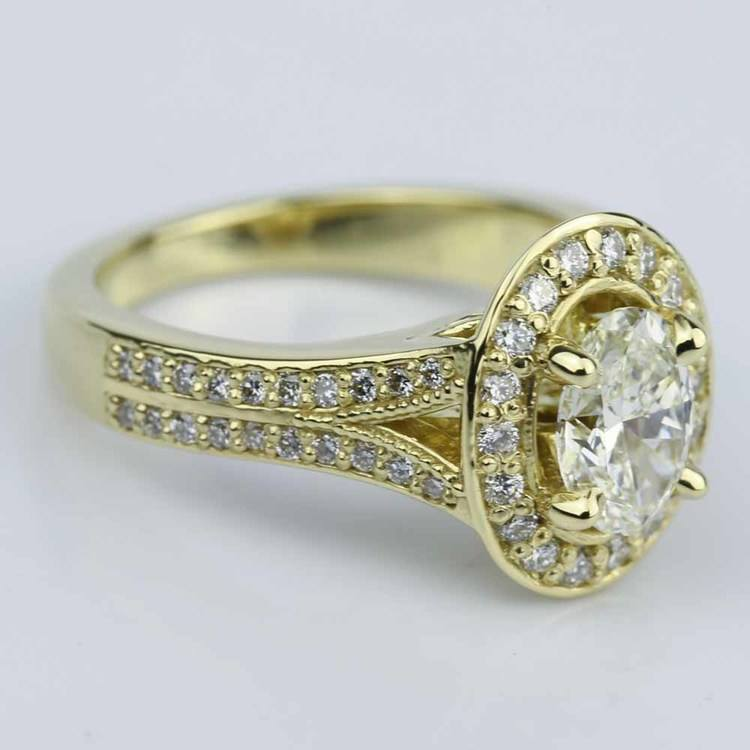 Antique Oval Diamond Engagement Ring in Yellow Gold angle 3