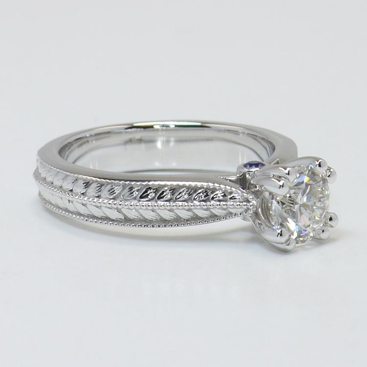 Antique Filigree 0.90 Carat Round Diamond Engagement Ring angle 3