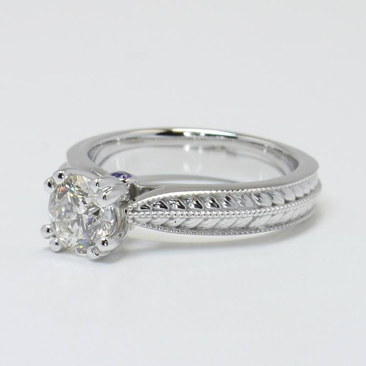 Antique Filigree 0.90 Carat Round Diamond Engagement Ring angle 2