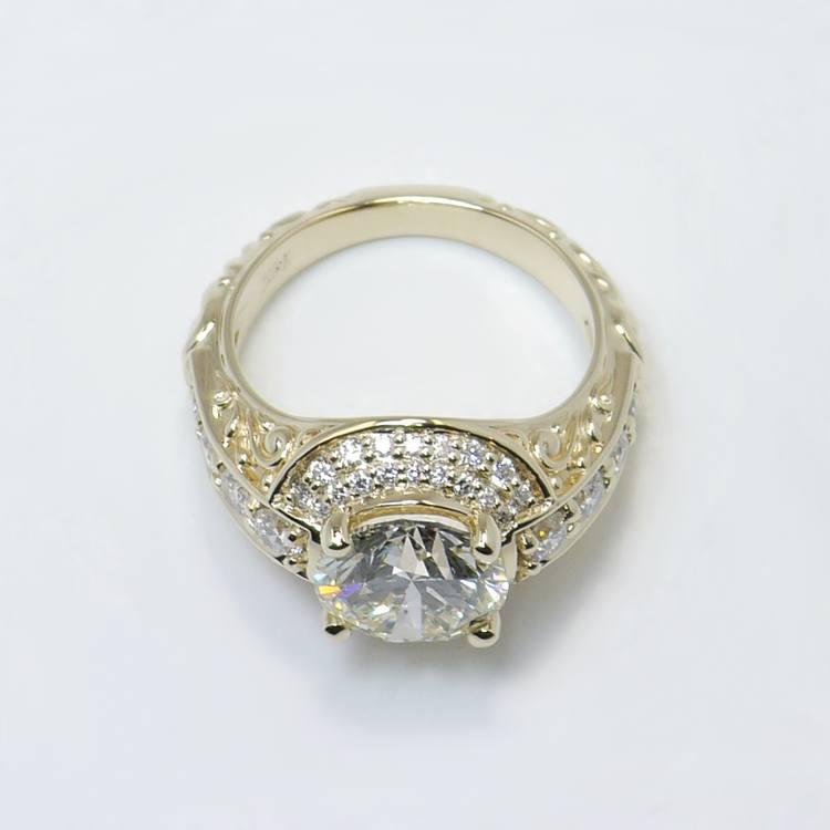 Vintage 2.38 Carat Round Diamond Engagement Ring angle 4