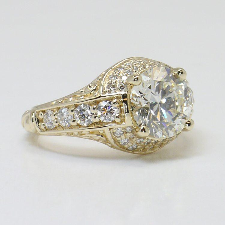 Vintage 2.38 Carat Round Diamond Engagement Ring angle 3