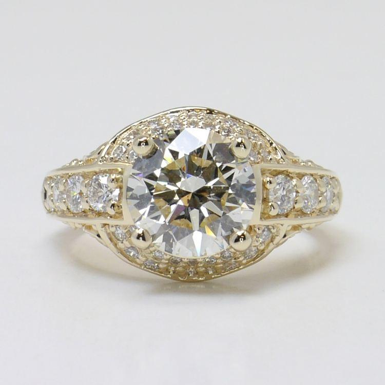 Vintage 2.38 Carat Round Diamond Engagement Ring