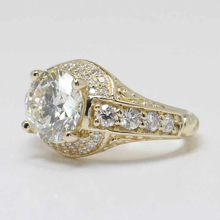 Vintage 2.38 Carat Round Diamond Engagement Ring angle 2