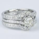 Antique Cushion Cut Diamond Bridal Ring Set - small angle 3