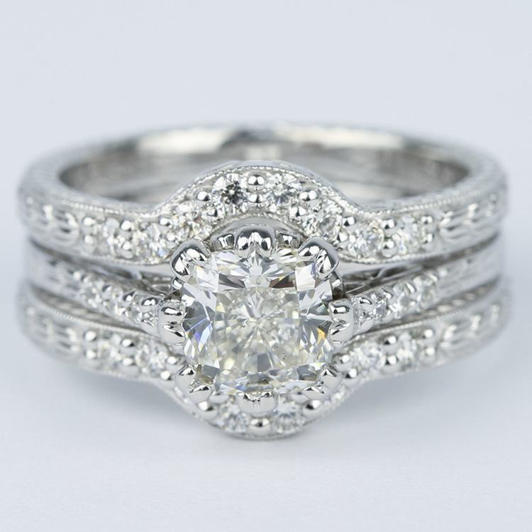 Antique Cushion Cut Diamond Bridal Ring Set