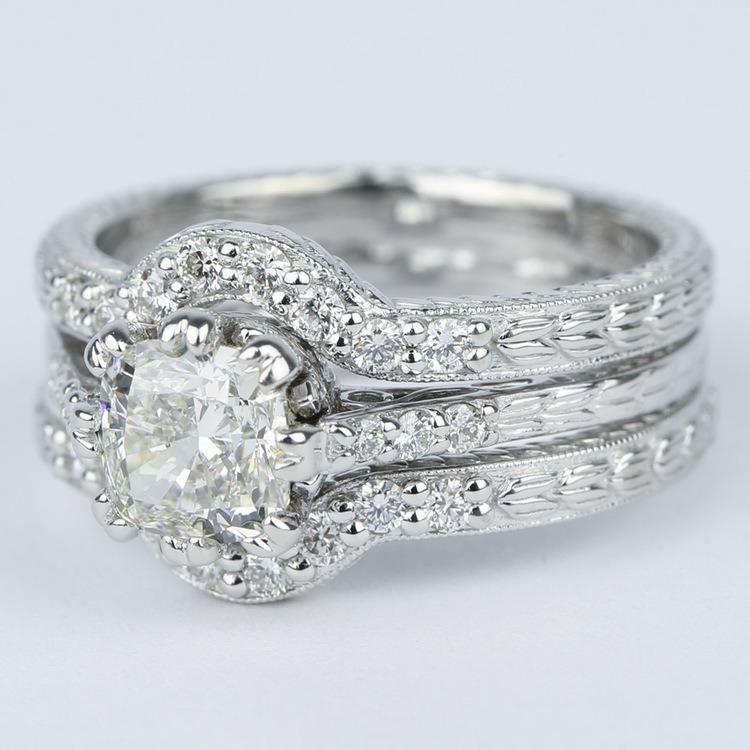 Antique Cushion Cut Diamond Bridal Ring Set angle 2