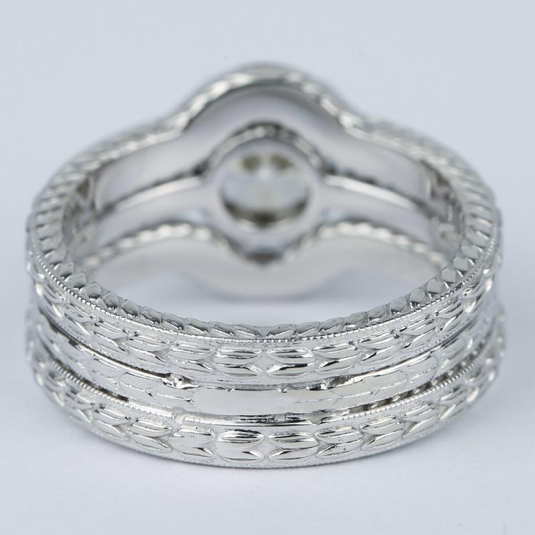 Antique Cushion Cut Diamond Bridal Ring Set angle 4