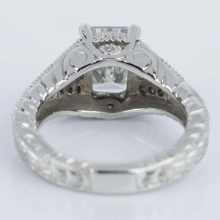 Antique Split Shank Emerald Diamond Engagement Ring in Platinum (1.52 ct.) angle 4