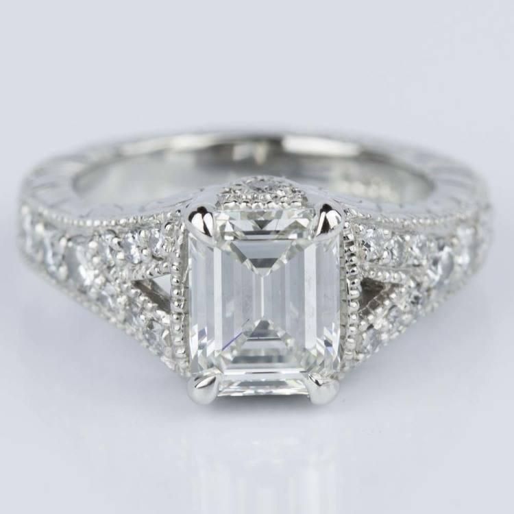 Antique Split Shank Emerald Diamond Engagement Ring in Platinum (1.52 ct.)