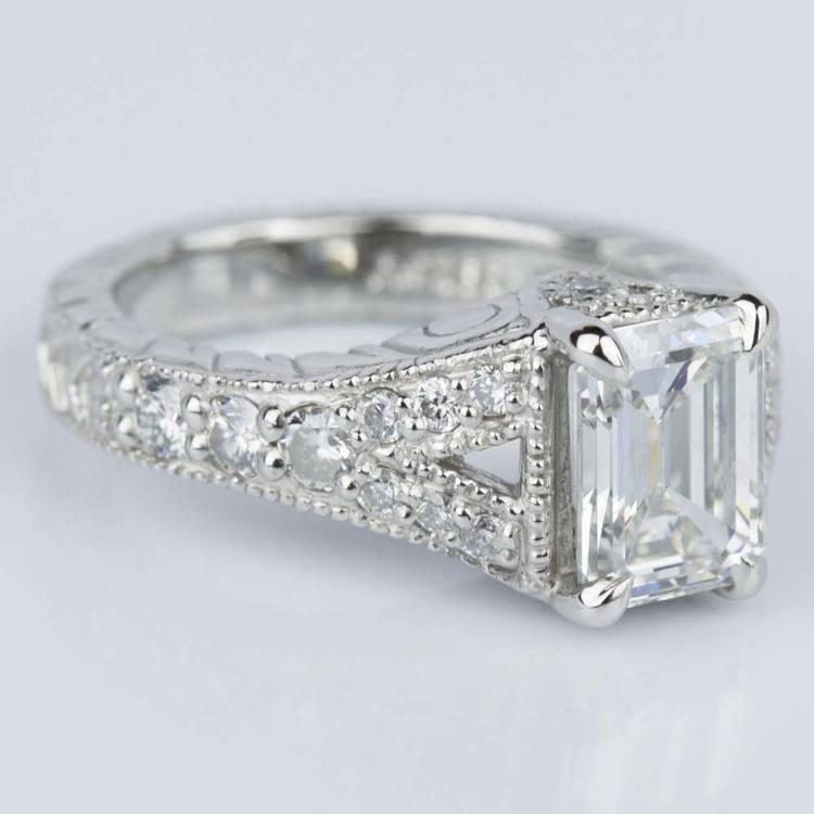 Antique Split Shank Emerald Diamond Engagement Ring in Platinum (1.52 ct.) angle 3